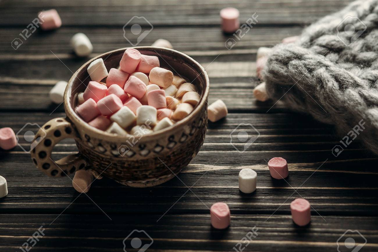 Stylish Rustic Winter Wallpaper Of Cup With Colorful Marshmallows
