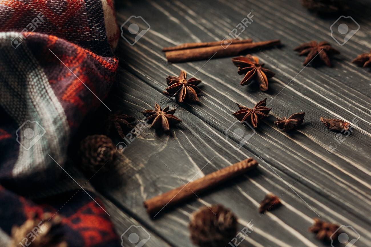 Anise Cinnamon On Wooden Rustic Background Space For Text Stylish Winter Or Autumn Wallpaper