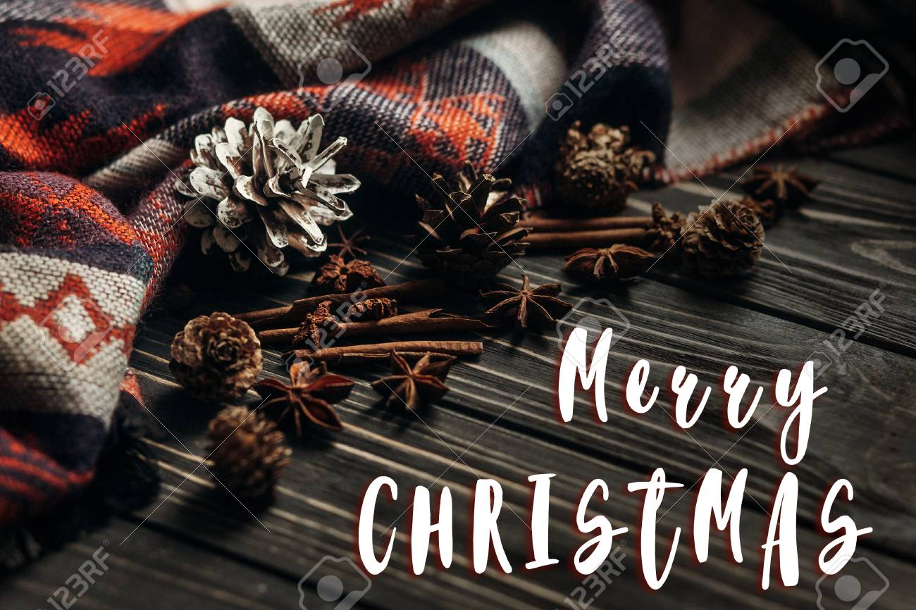 Merry Christmas Text Sign Greeting On Stylish Winter Or Autumn Wallpaper Anise Cinnamon And Pine