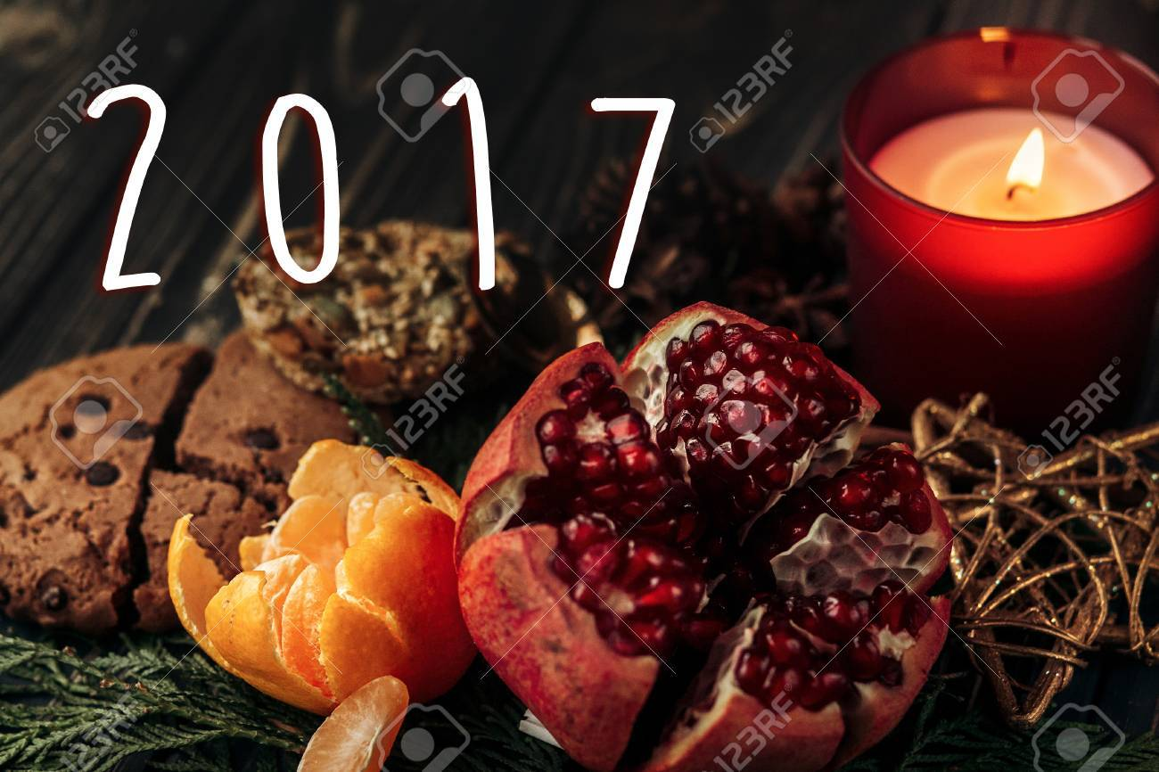 2017 Text Sign New Year Number On Stylish Rustic Christmas Wallpaper Candle And Garnet Cookies Fruits