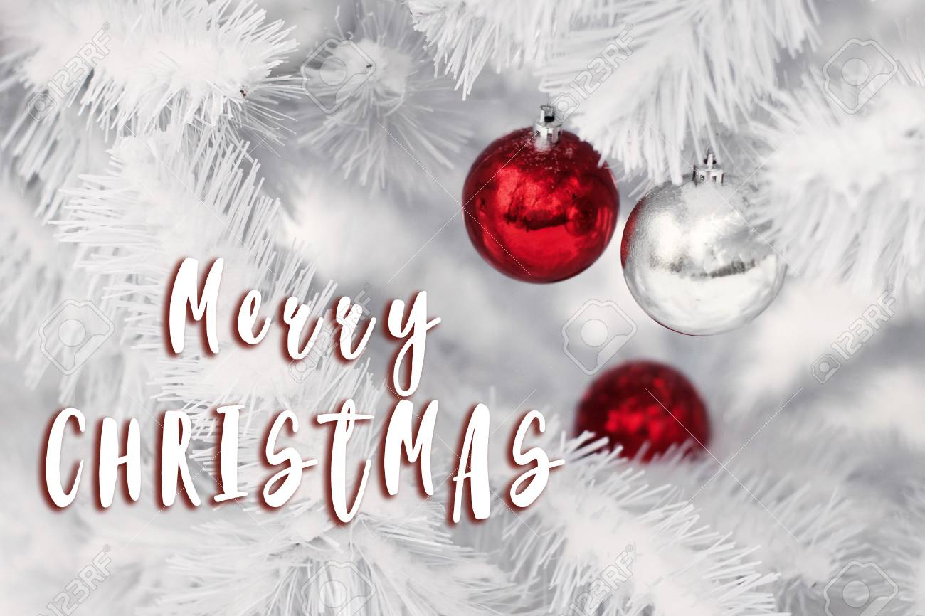 Merry Christmas Text Sign On Stylish Red And Silver Ornament Stock Photo Picture And Royalty Free Image Image 82446295