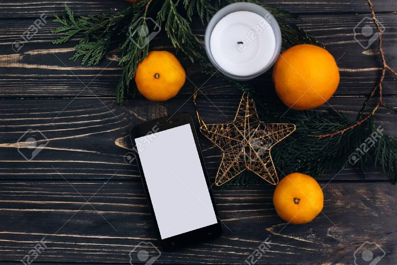 Immagini Stock Concetto Di Pubblicità Di Natale Con Schermo Vuoto