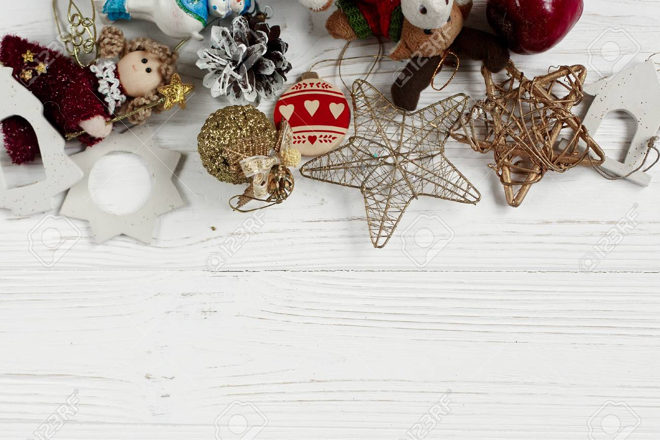 Christmas Frame Of Golden Toys Ornament Border On White Rustic Stock Photo Picture And Royalty Free Image Image 82524081