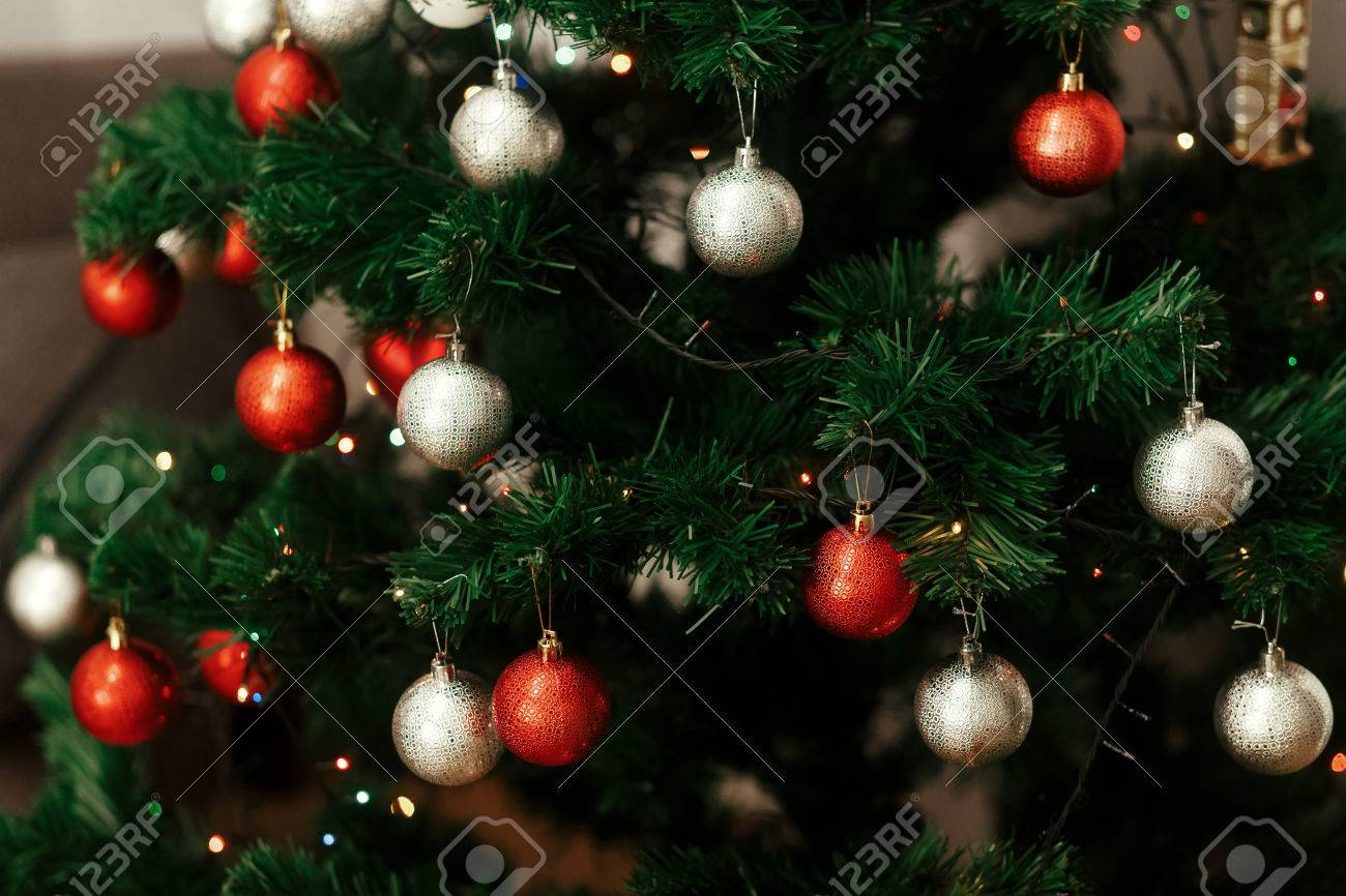 Close Up Of Colorful Red And Silver Christmas Ornaments On Christmas