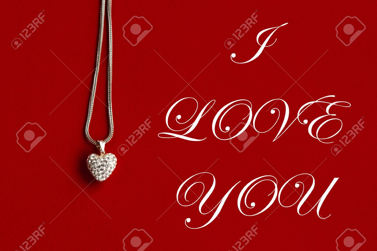 Luxury Heart Necklace I Love You Text Greeting Card Concept Stock