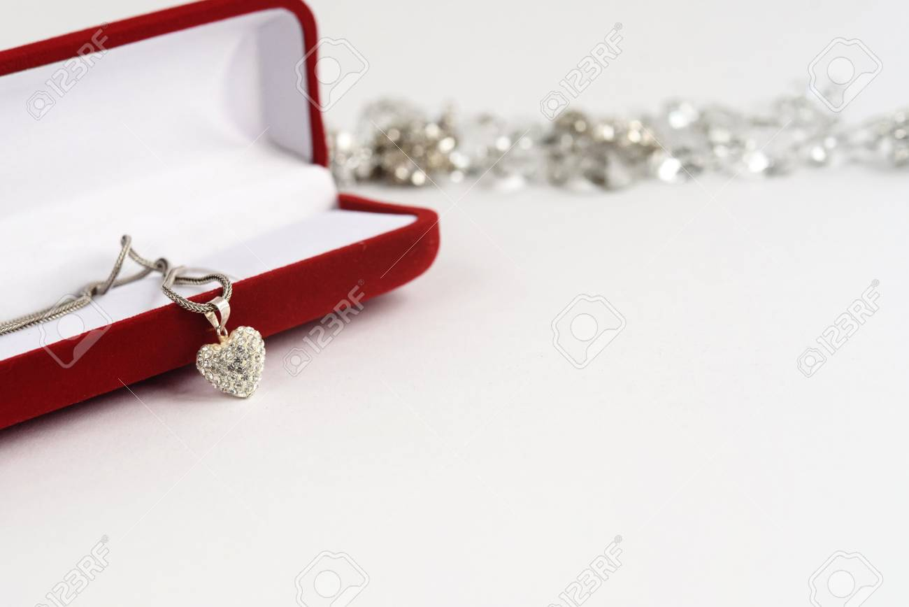 luxury heart necklace with stylish diamonds on white background, present and love concept, valentine's day - 84336489