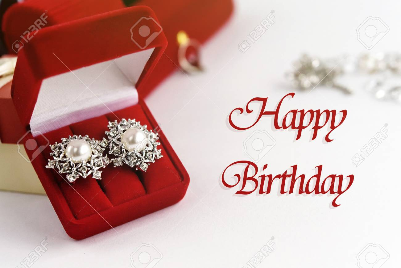 Stylish Luxury Accessories And Gift Boxes Happy Birthday Text