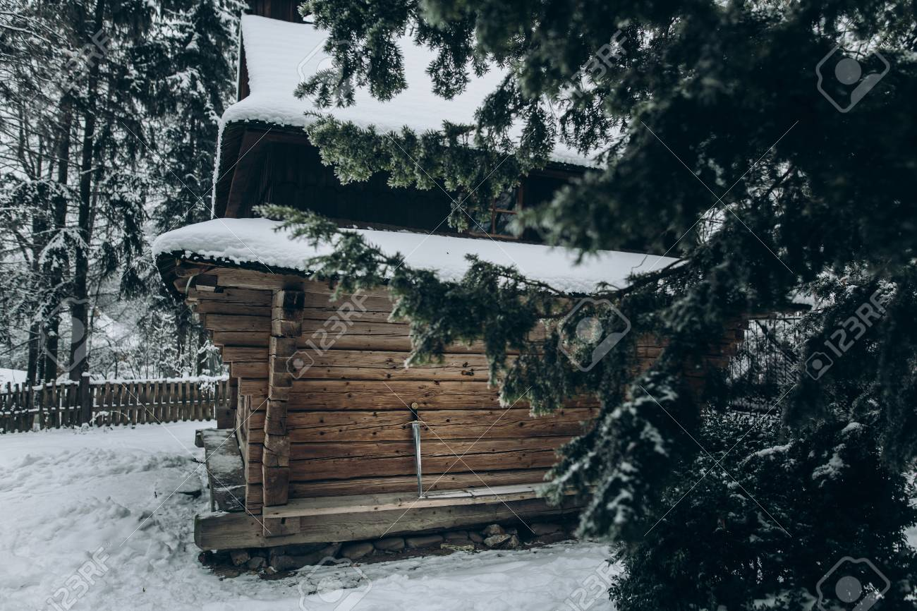 Old Wooden Cabin In Norway Located Winter Woods Rustic Wood Cottage Scandinavia National