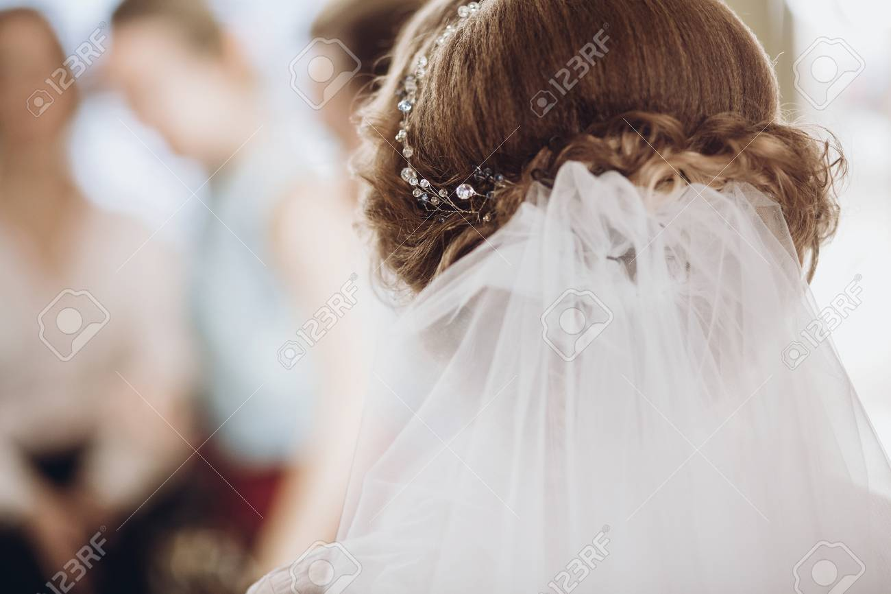 Bride Hair With Veil Style Close Up. Beautiful Woman Getting.. Stock ...