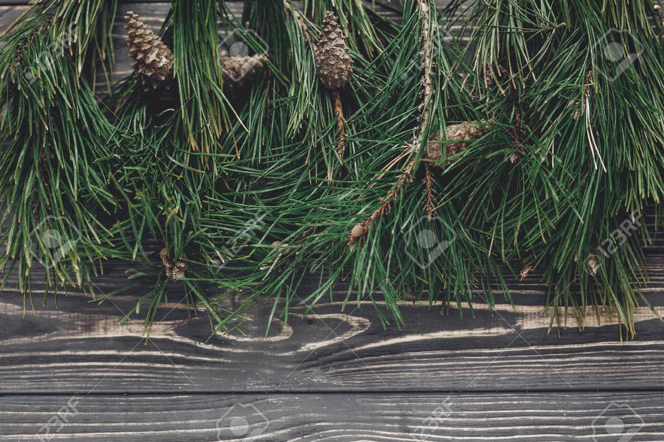 Christmas Tree Fir Branches And Pine Cones Top View On Rustic Wooden Background Space For
