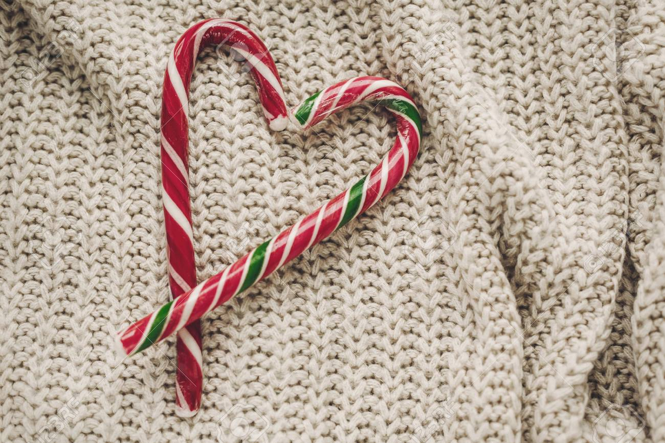 Stylish Christmas Flat Lay Peppermint Candy Cane In Heart Shape