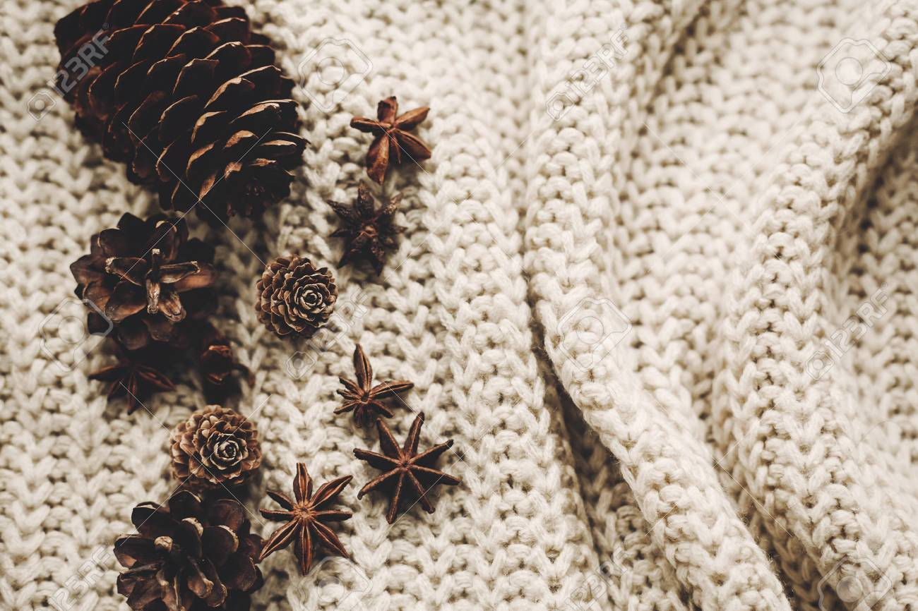 Stylish Christmas Flat Lay Pine Cones Anise On Rustic Knitted