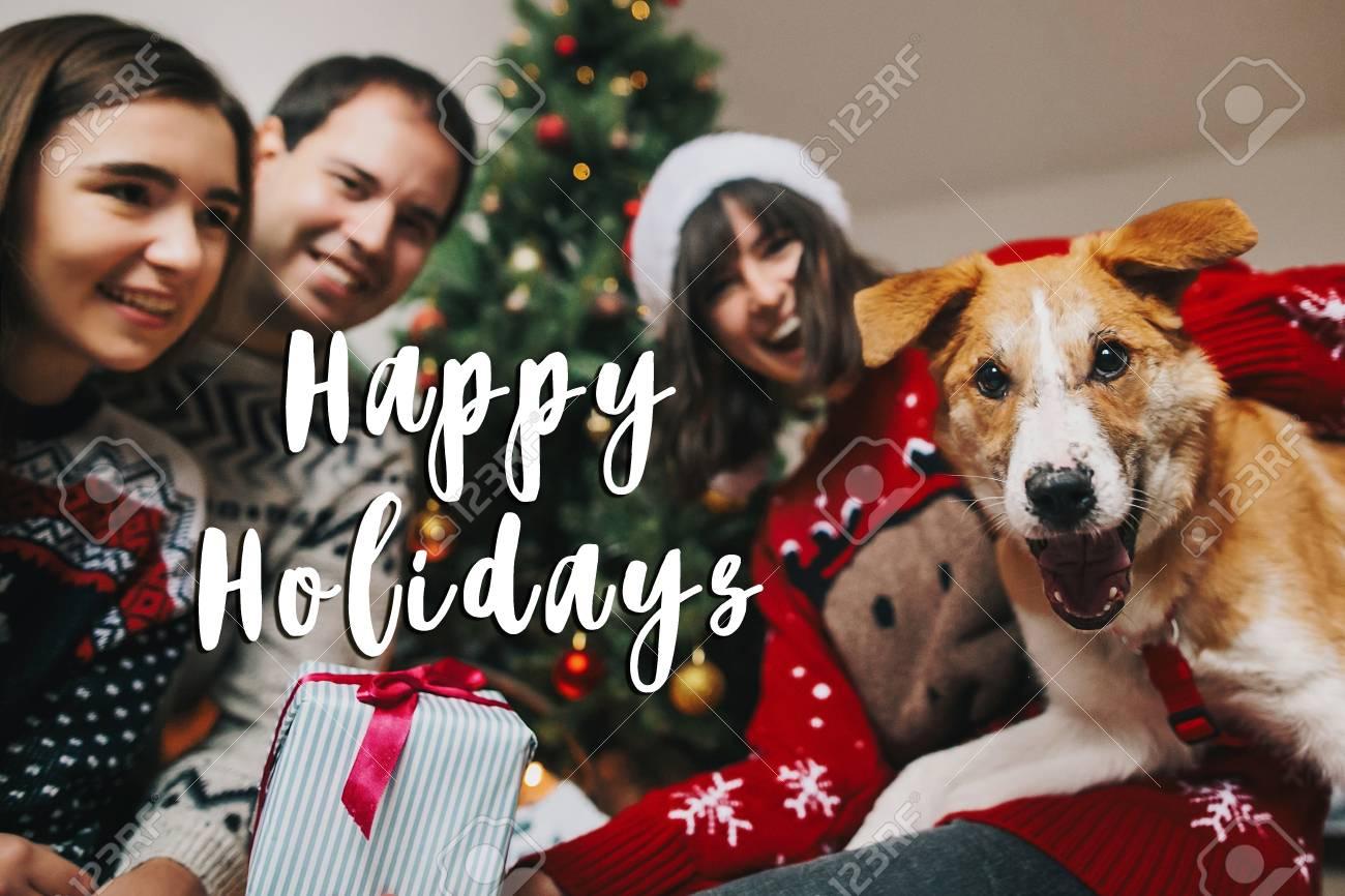 happy holidays text sign greeting card happy family having stock
