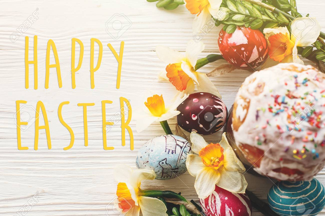 Happy Easter Text Seasons Greetings Card Stylish Painted Eggs