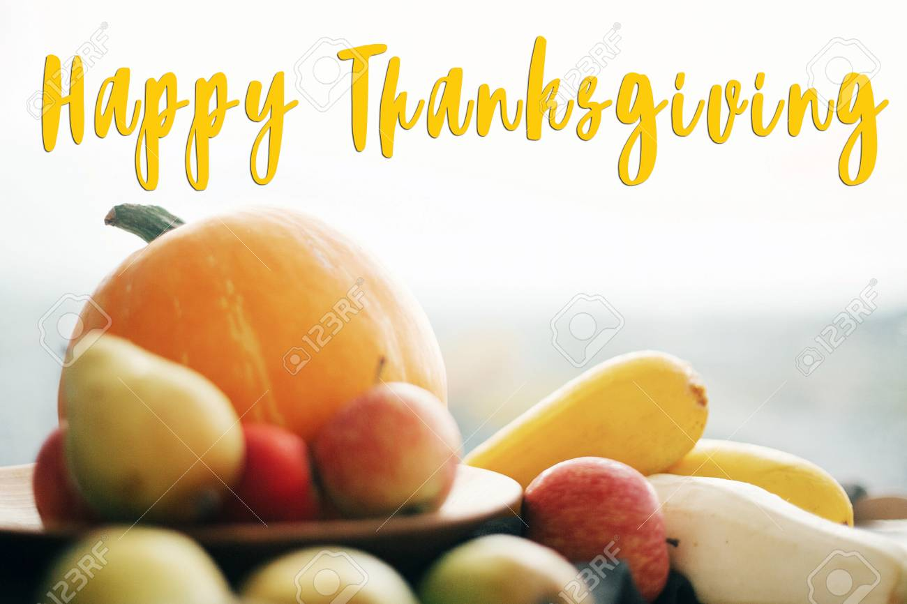 Happy Thanksgiving Text Seasons Greeting Card Concept Thanksgiving