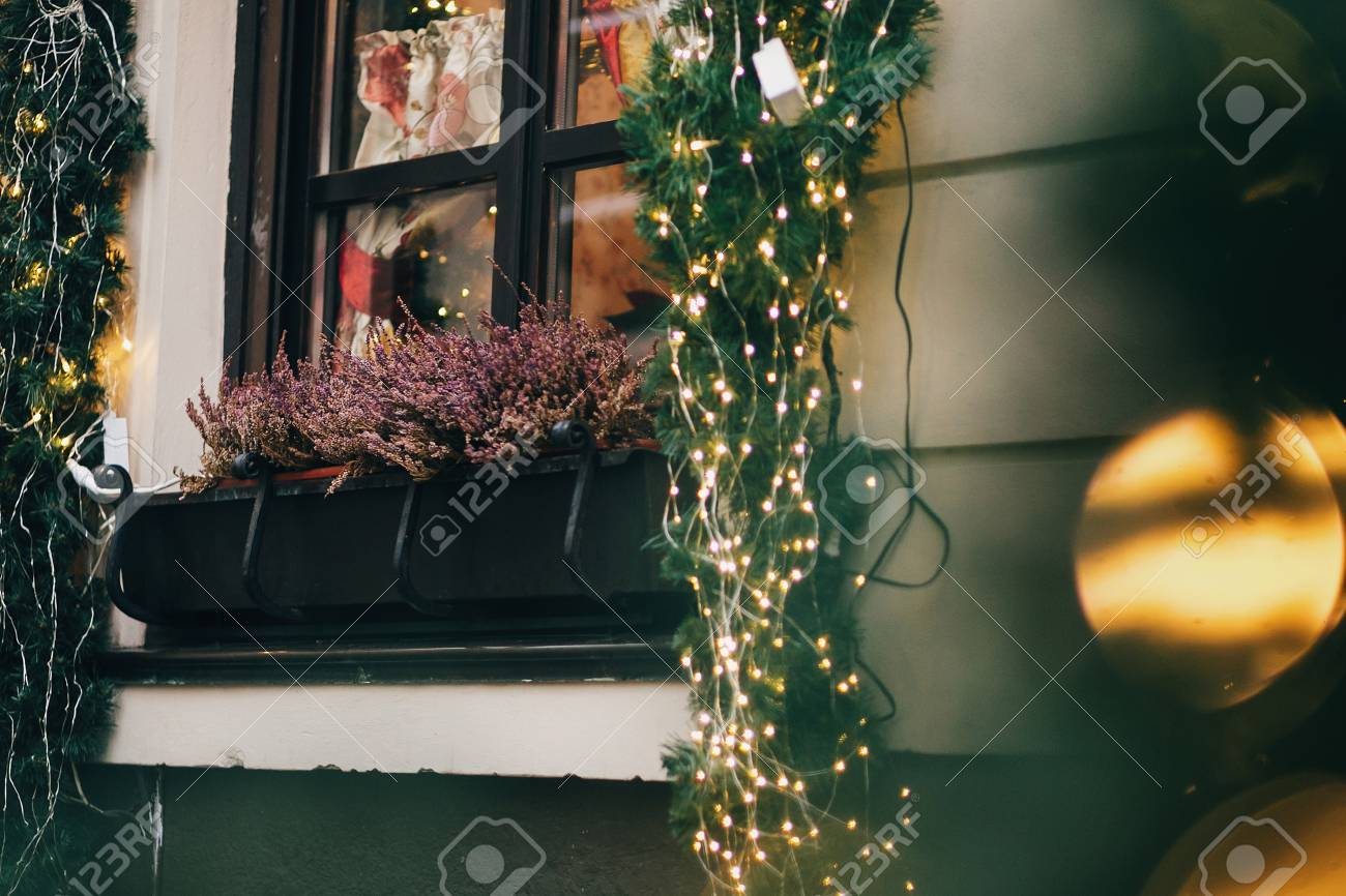 Stylish Christmas Decorations Garland Lights And Fir Branches