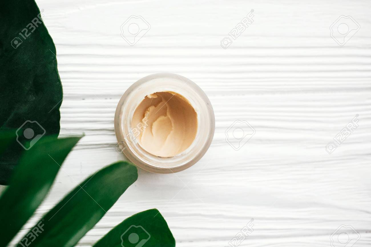 Natural eco friendly toothpaste in glass, deodorant cream or