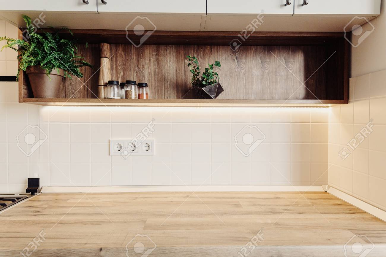Luxury Modern Kitchen Furniture In Grey Color And Wooden Tabletop
