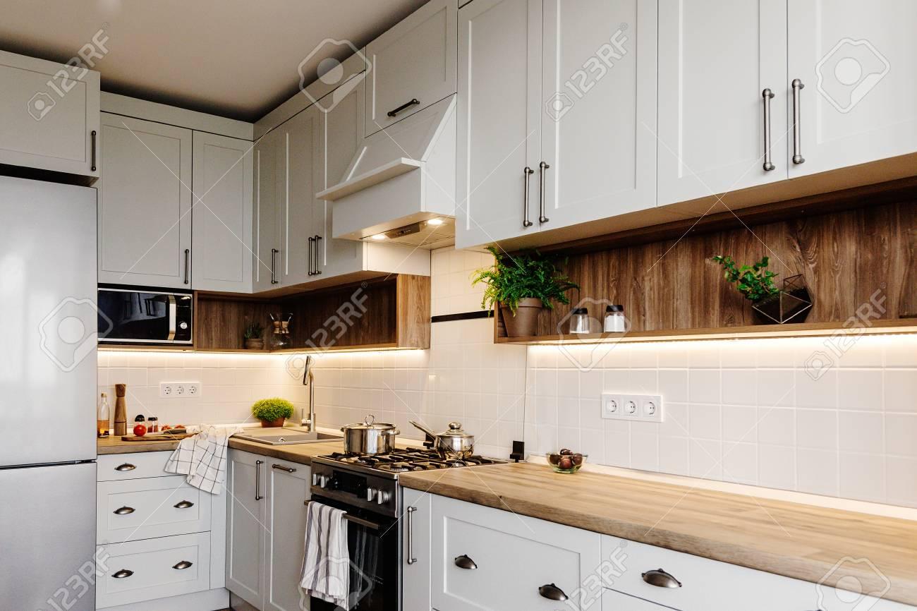 Stylish kitchen interior design. Luxury modern kitchen furniture..