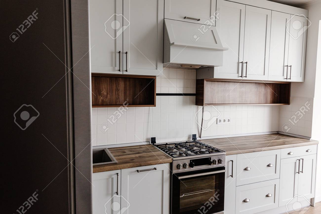 Luxury Modern Kitchen Furniture In Grey Color And Steel Oven Fridge