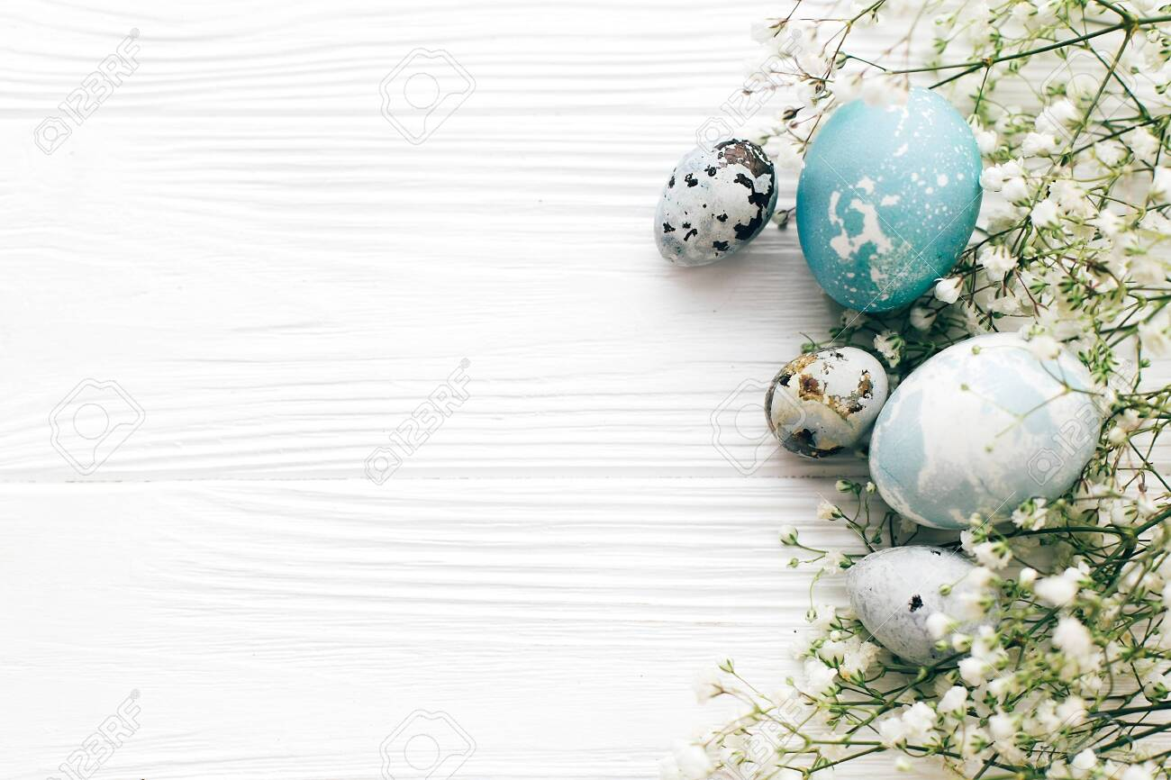 Happy Easter. Stylish Easter eggs with spring flowers border, flat lay on white wooden background with space for text. Modern easter eggs painted with natural dye in blue and grey marble. - 119469264