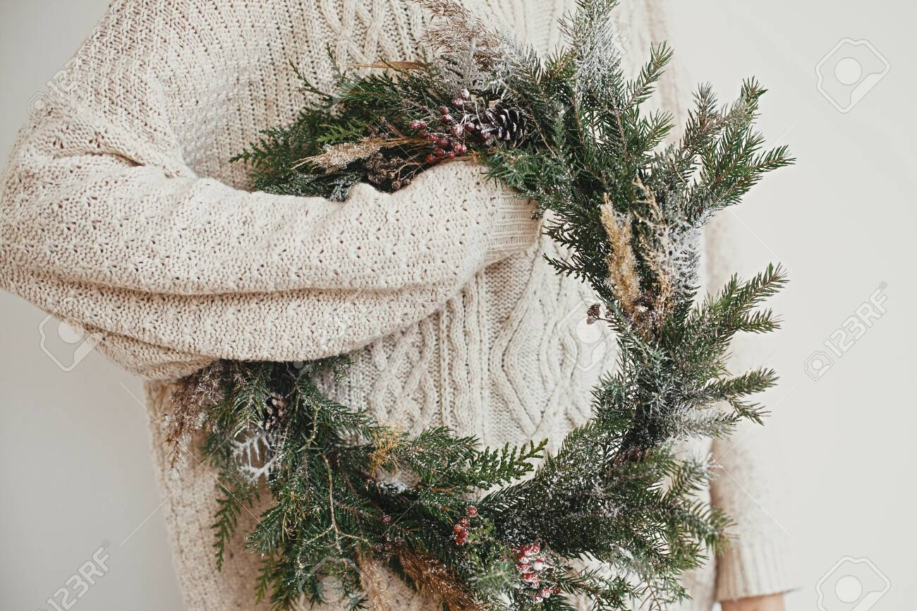 Christmas Rustic Wreath Hipster Girl In Stylish White Sweater Stock Photo Picture And Royalty Free Image Image 130624099