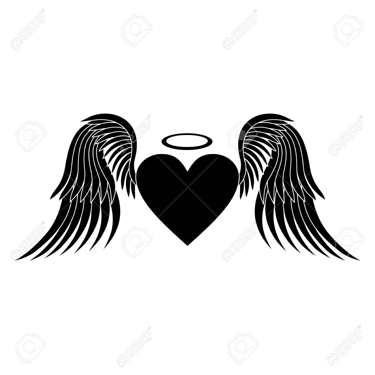 Heart With Wings Heart Silhouette Heart Vector Icon Heart