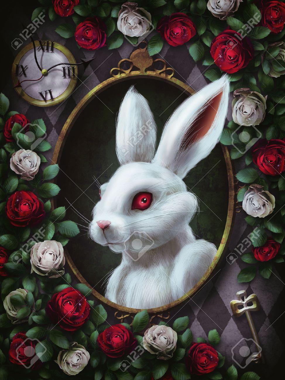 White Rabbit From Alice In Wonderland Portrait In Oval Frame