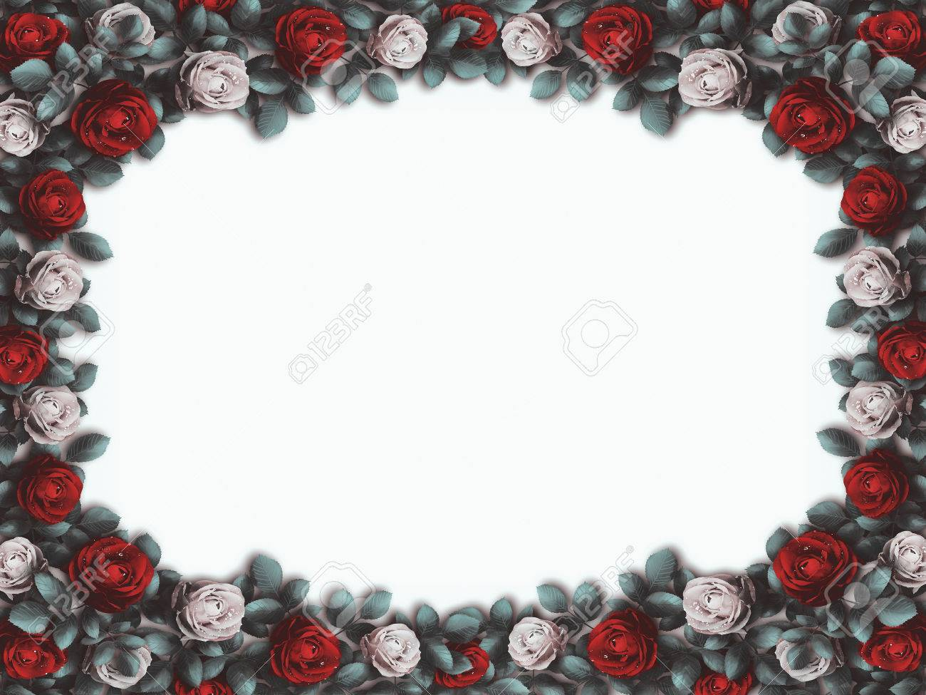 Alice In Wonderland Red Roses And White Roses On White Background