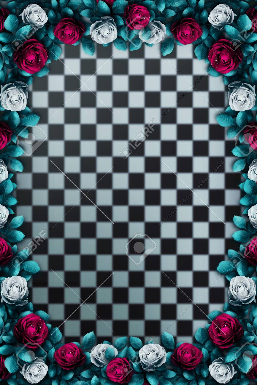 Alice In Wonderland Red Roses And White Roses On Chess Background