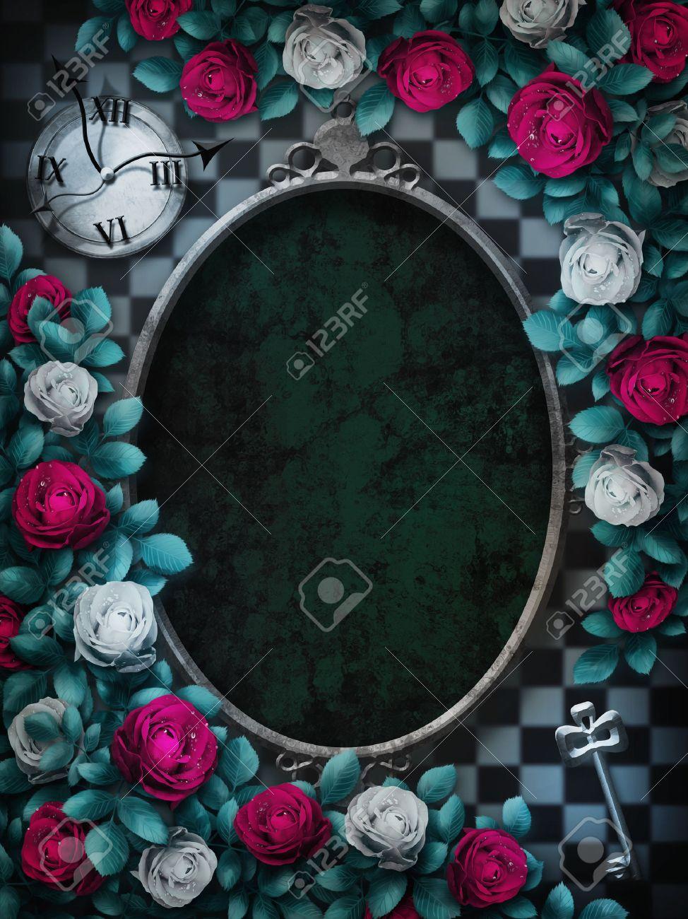 不思議の国のアリス 赤いバラと白いバラ チェスの背景に 時計とキー