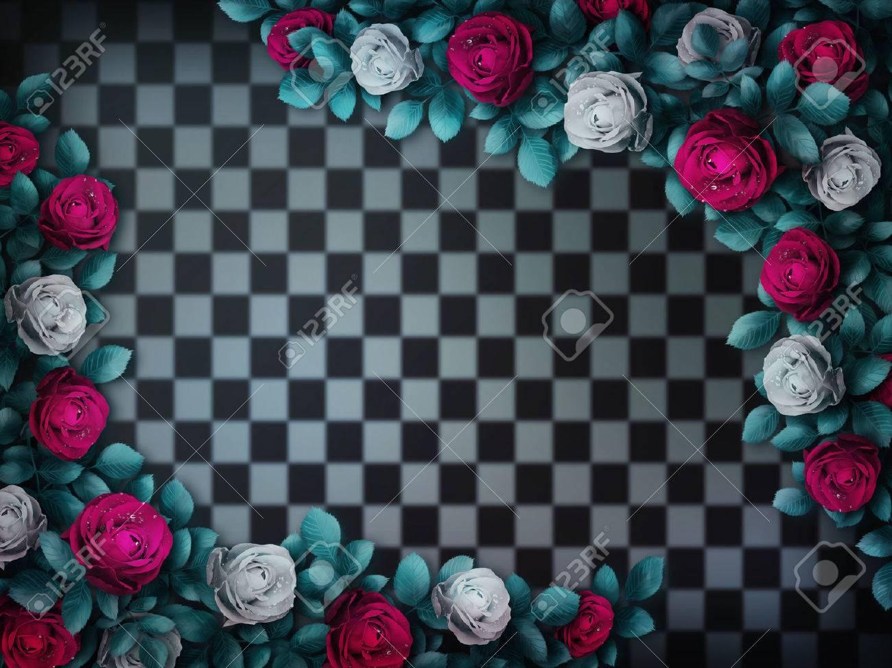 不思議の国のアリス 赤いバラと白いバラ チェスの背景に バラの花の