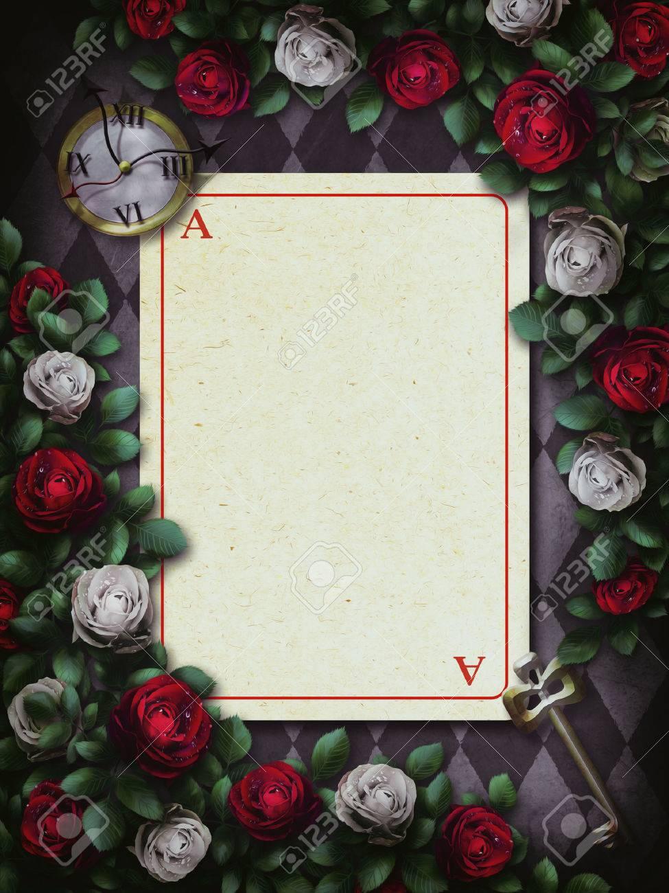 Alicia En El País De Las Maravillas. Rosas Rojas Y Rosas Blancas En ...
