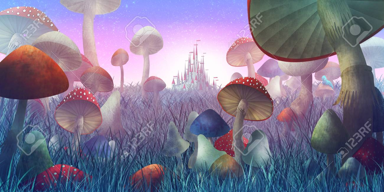 fantastic landscape with mushrooms and fog. illustration to the fairy tale - 113534814