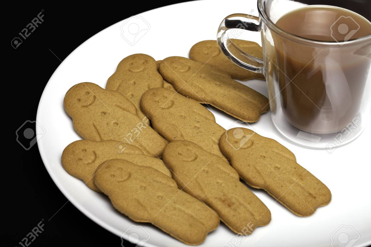 Afternoon Snack Comfort Food Gingerbread Men Biscuits And A