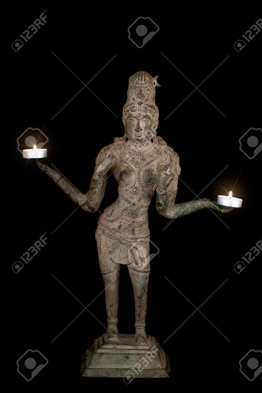 Hinduism and spiritual enlightenment with bronze statue of goddess