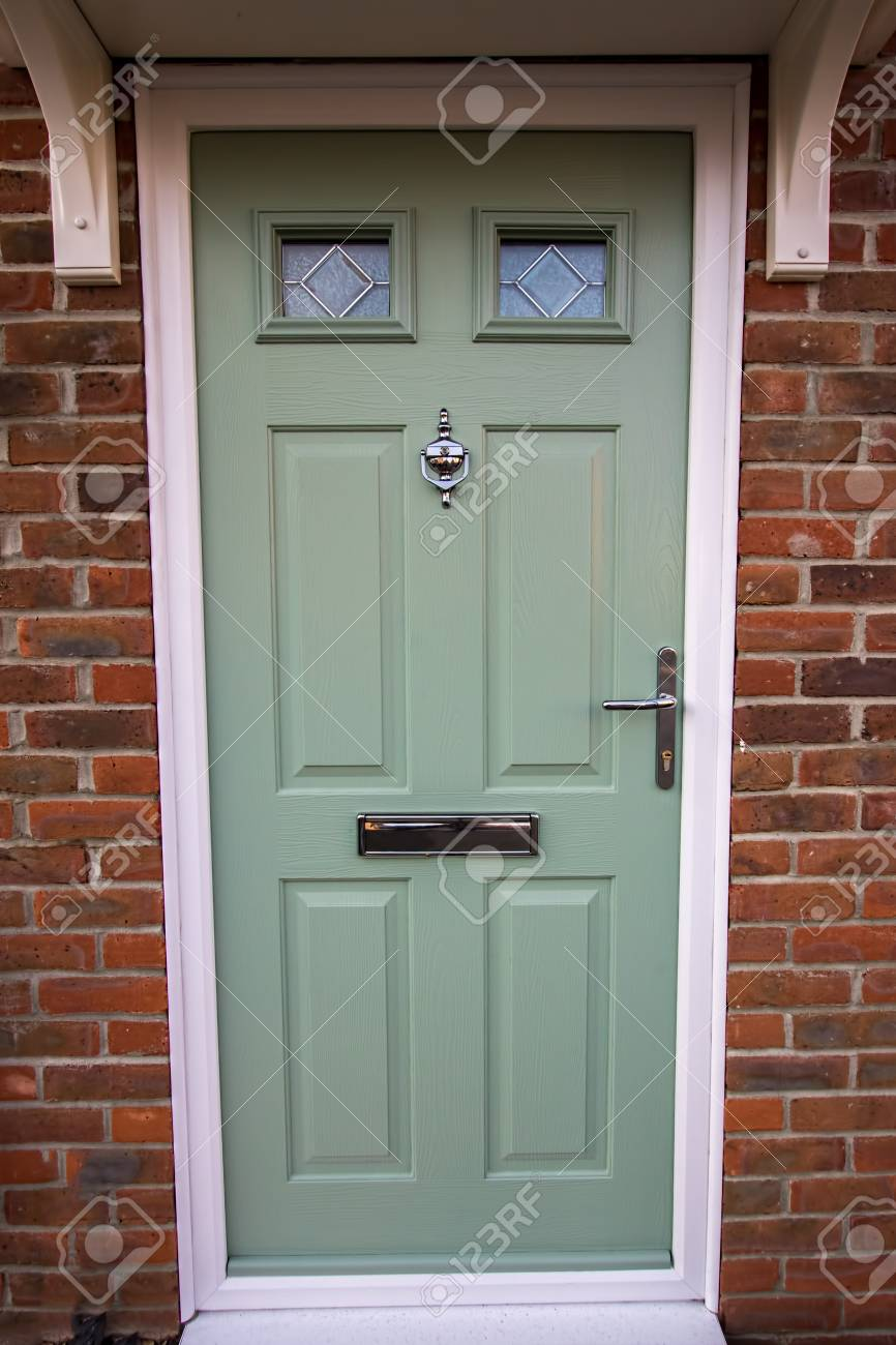 Green door modern house composite upvc front door with chrome hardware timber look classic