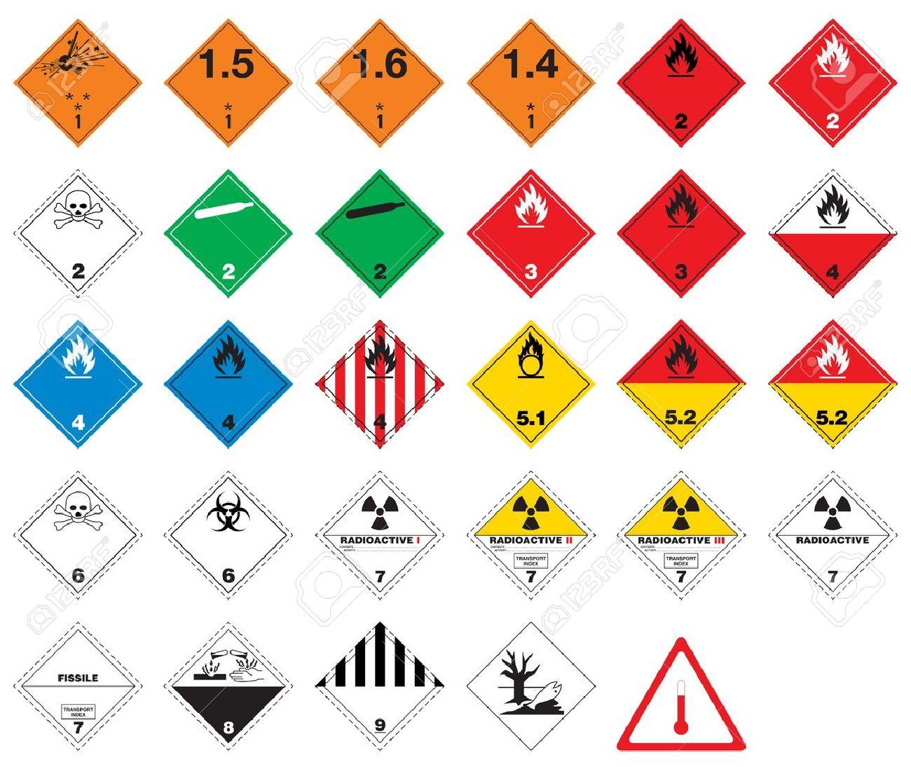 Hazardous pictograms - goods signs Stock Vector - 13287847