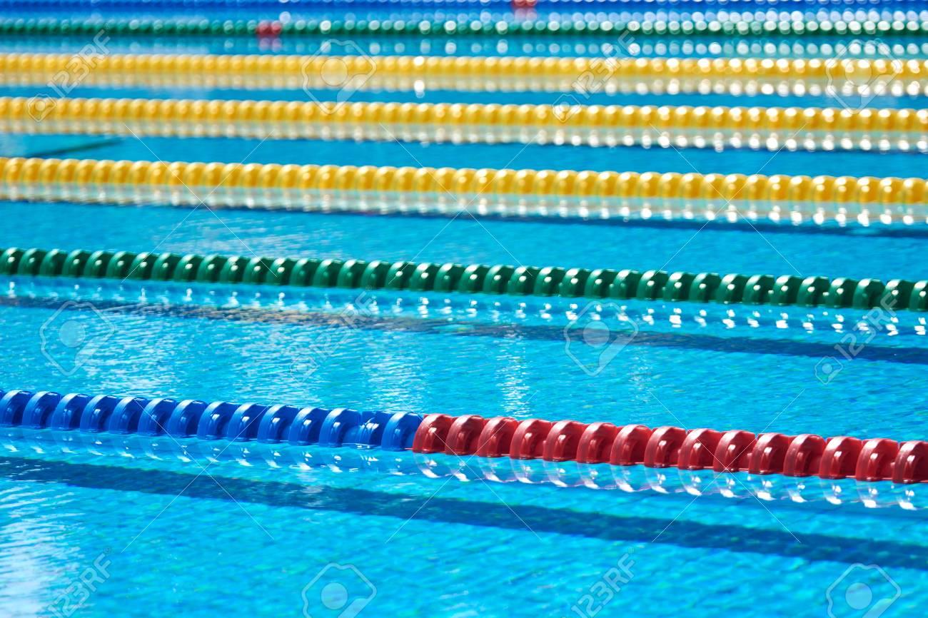 Swimming pool - lane lines - swimming pool lane marker, closeup