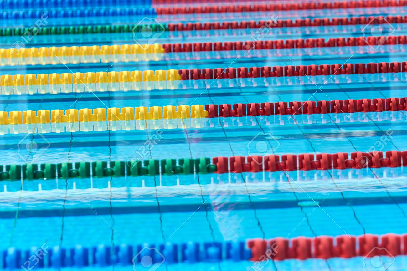 Swimming pool - lane lines - swimming pool lane marker, closeup