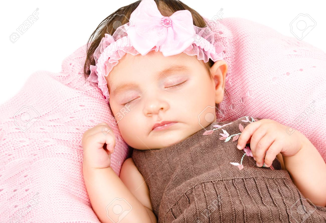 Portrait Of A Cute Sleeping Baby Girl Isolated On White Background Stock Photo Picture And Royalty Free Image Image 71126452