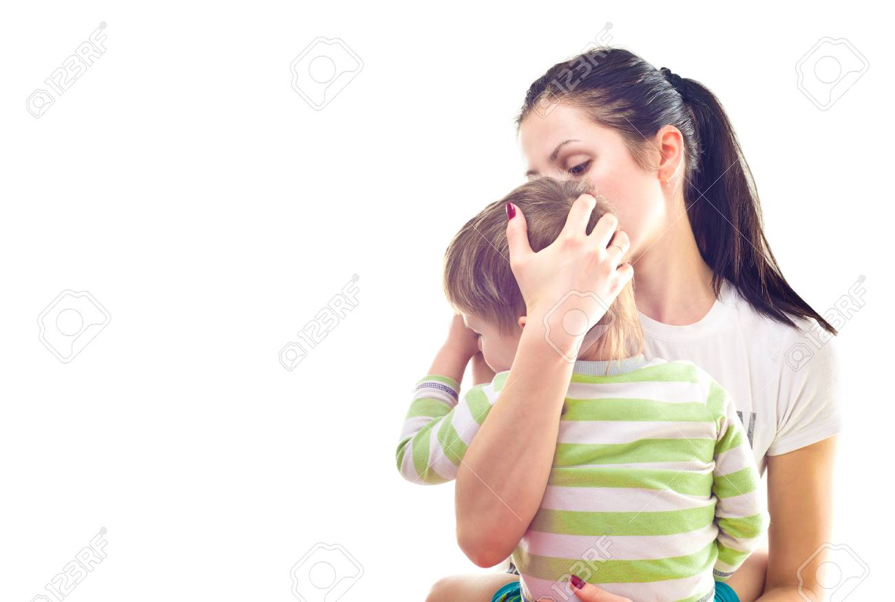 Portrait of mother calms a crying son - 116746207