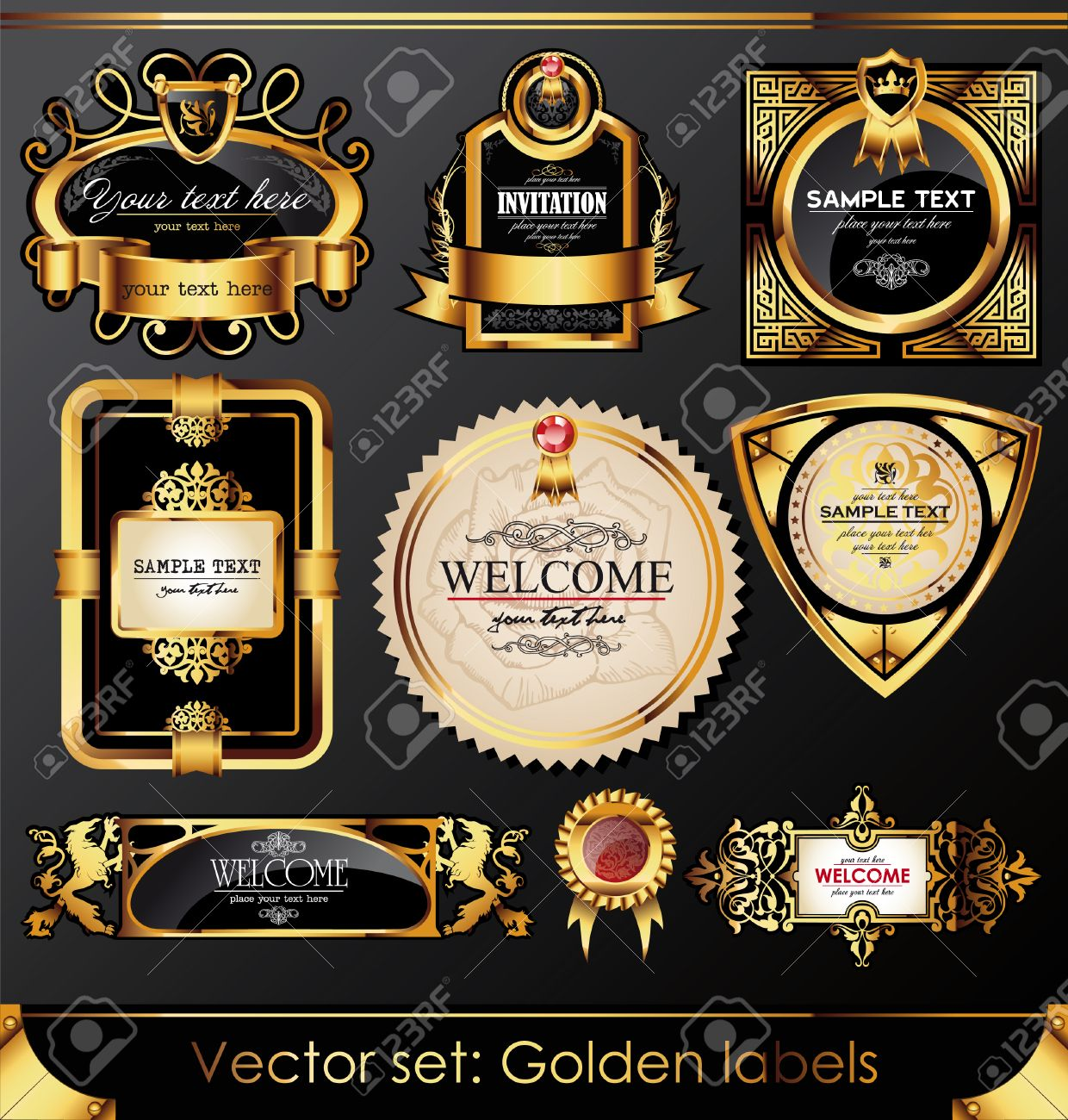 set of beautiful black gold-framed labels Stock Vector - 8712029
