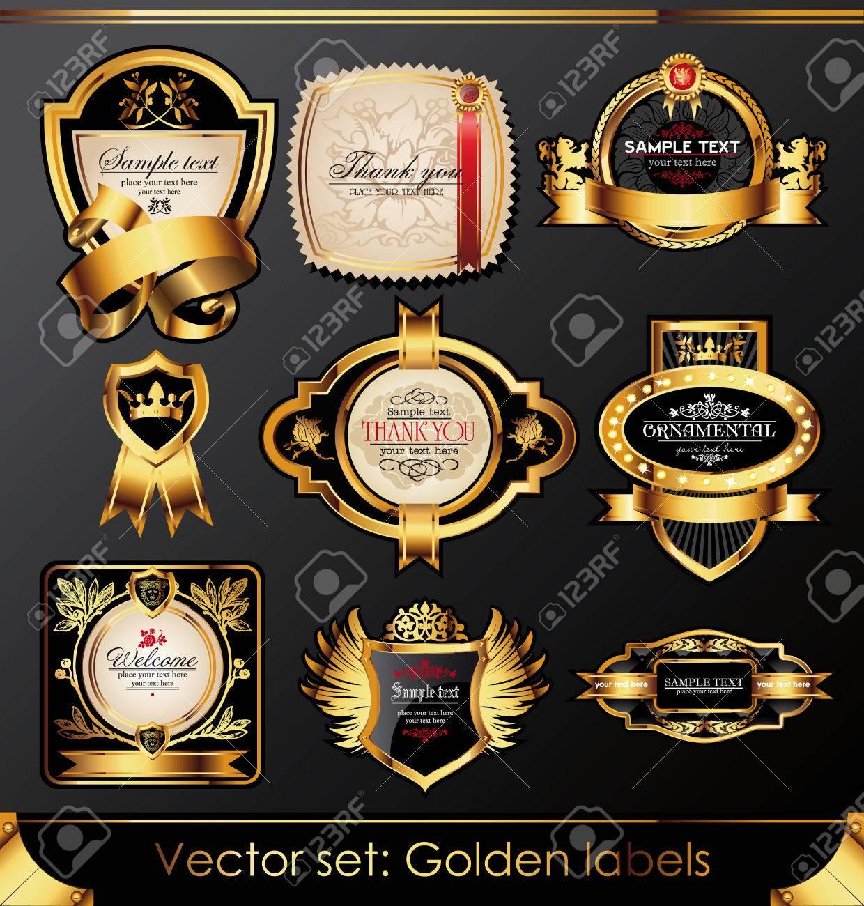 set of beautiful black gold-framed labels Stock Vector - 8712030