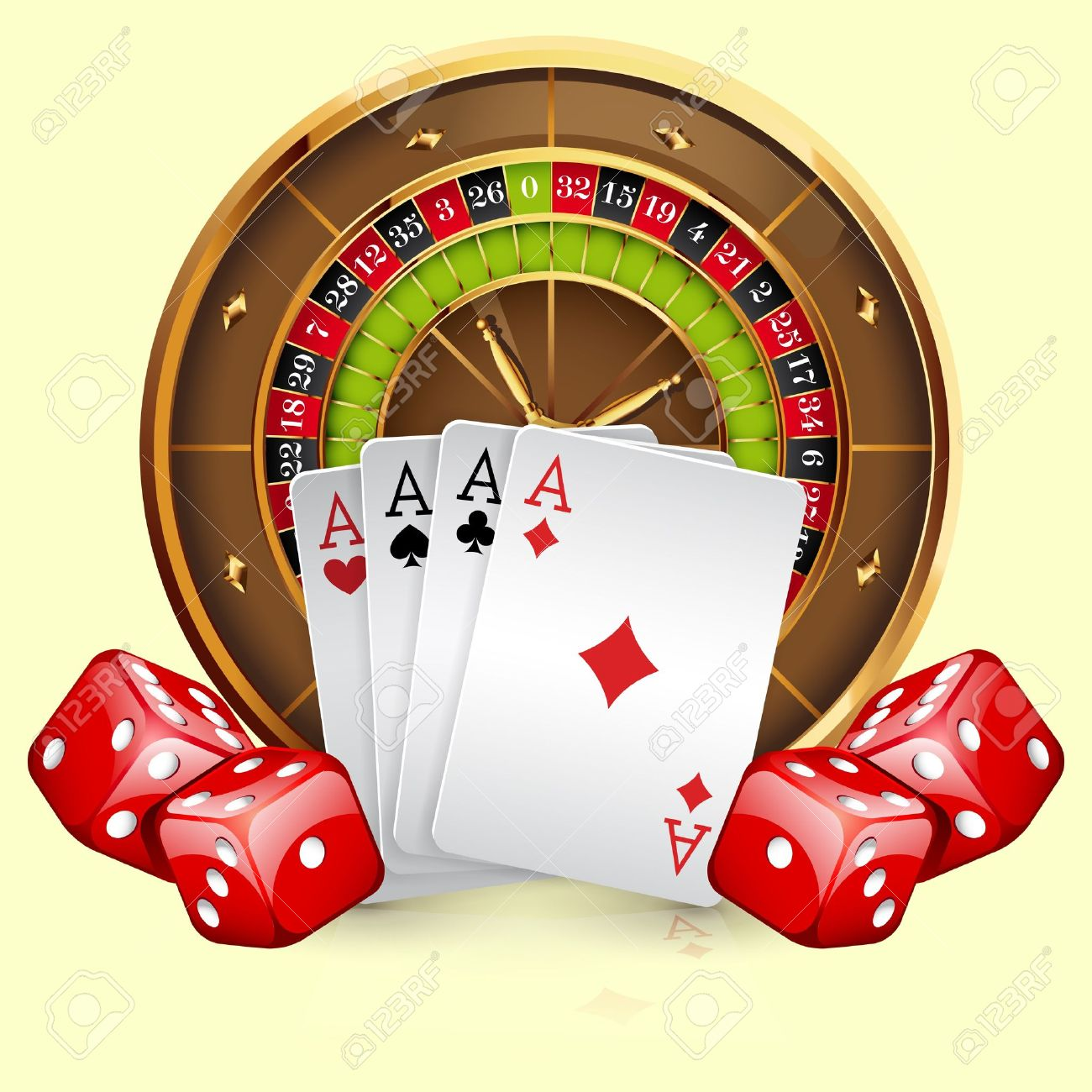 Illustration of casino roulette wheel with cards and dice. Isolated on white background Stock Vector - 12819907