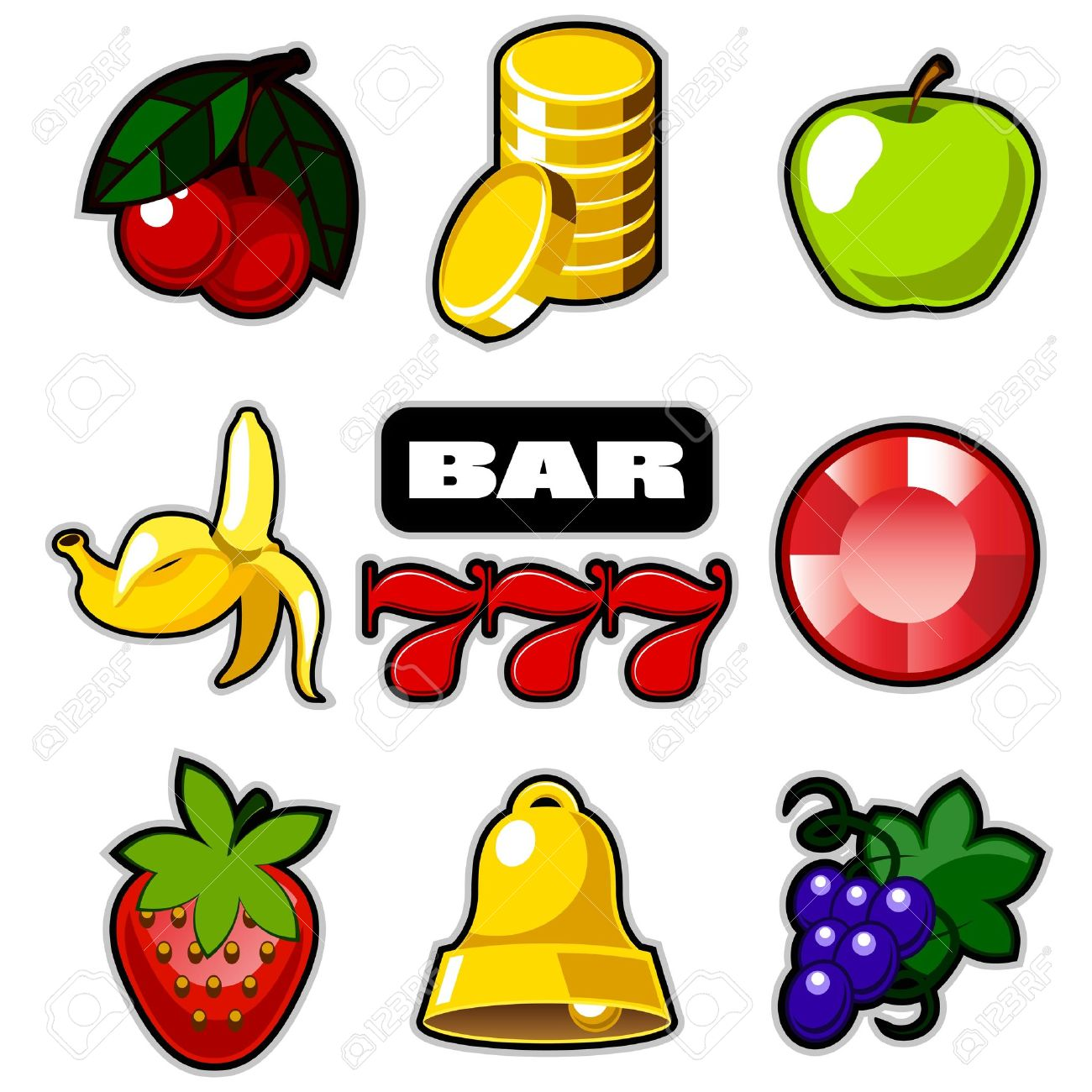Various slot fruit machine icons Stock Vector - 12819831