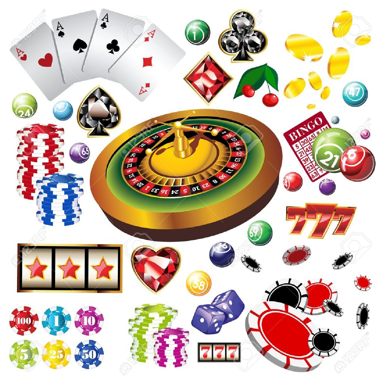 The set of vector casino elements or icons including roulette wheel, playing cards, chips, dice and more - 12820044