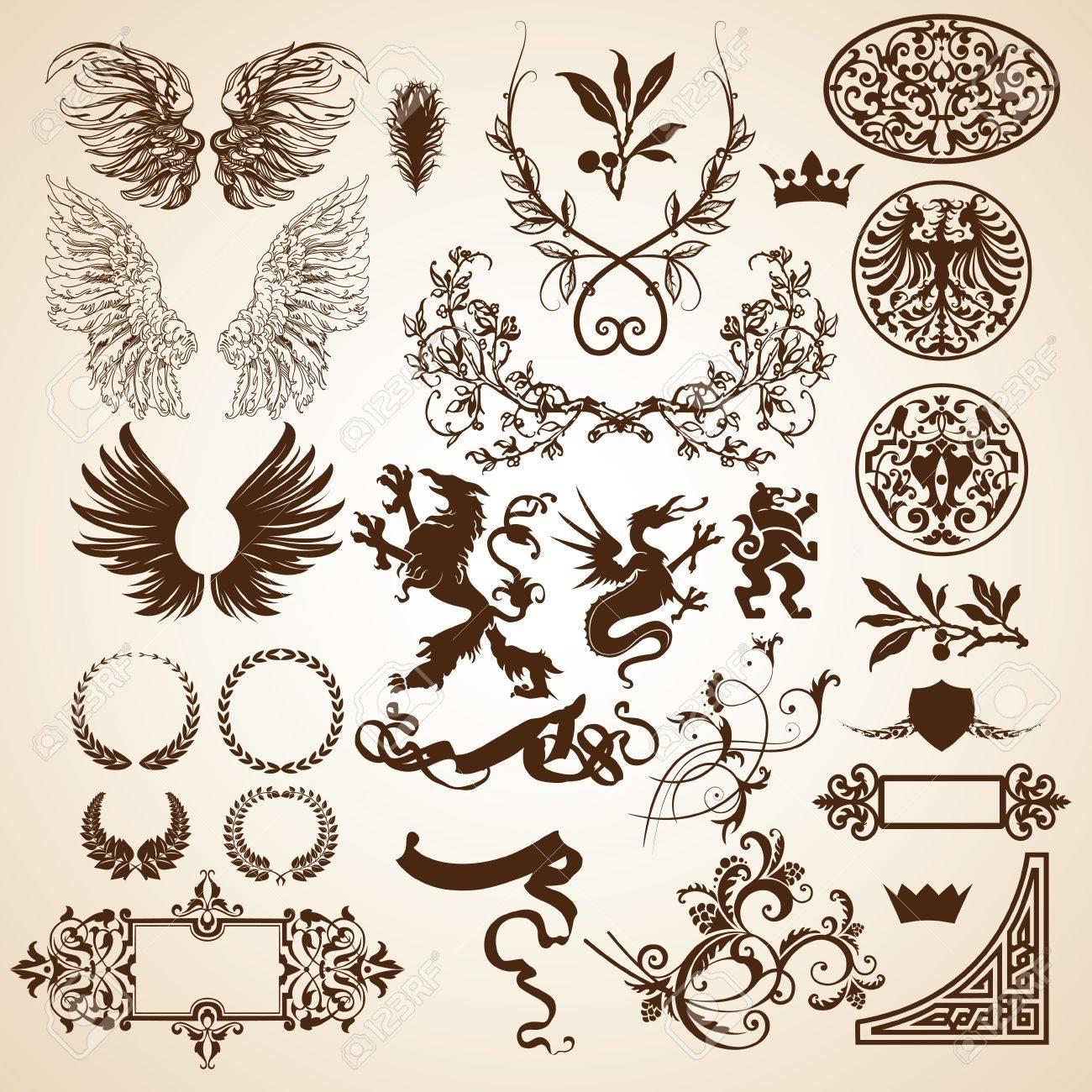 set of heraldic elements Stock Vector - 12820010