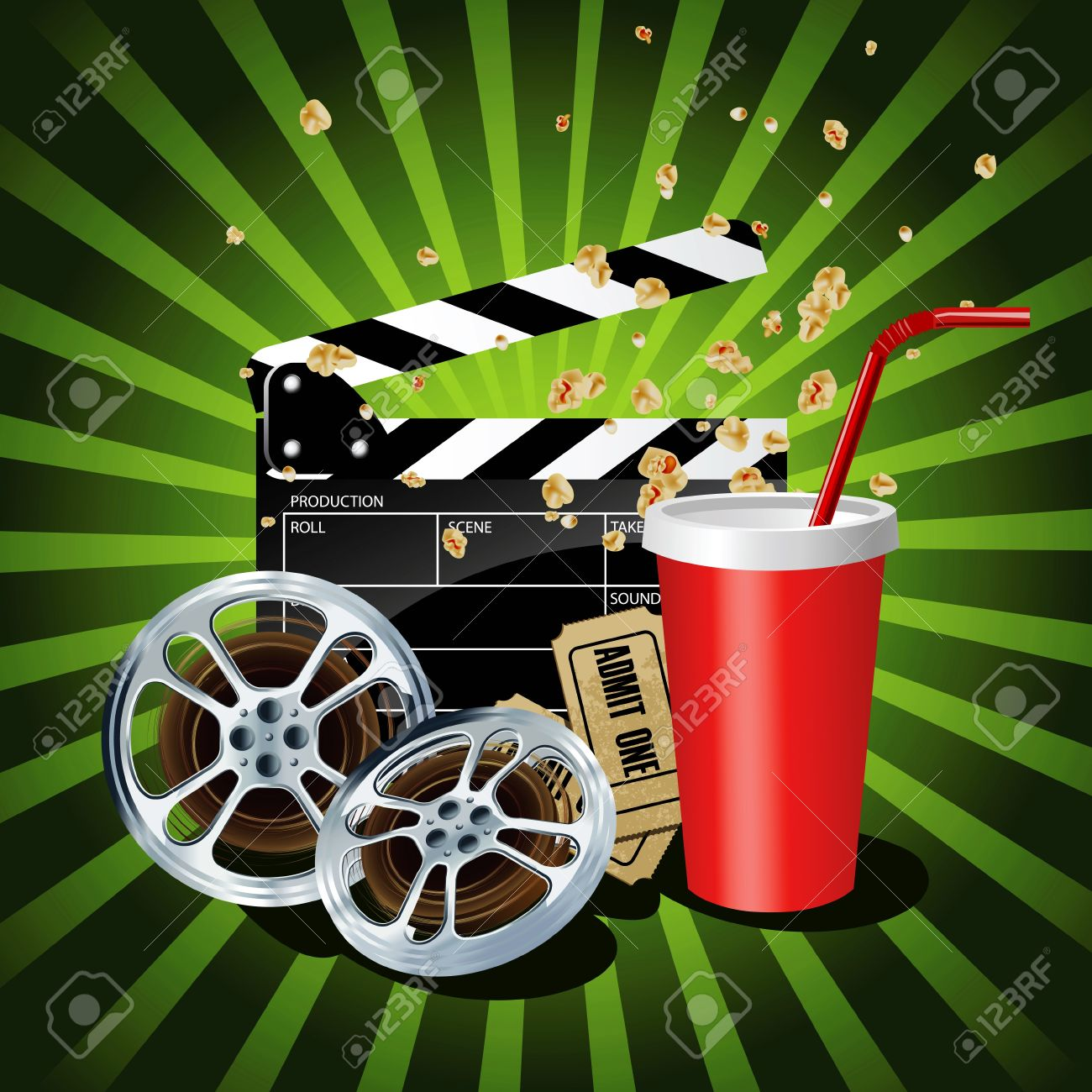 Illustration of  movie theme objects on green background. Stock Vector - 13626028