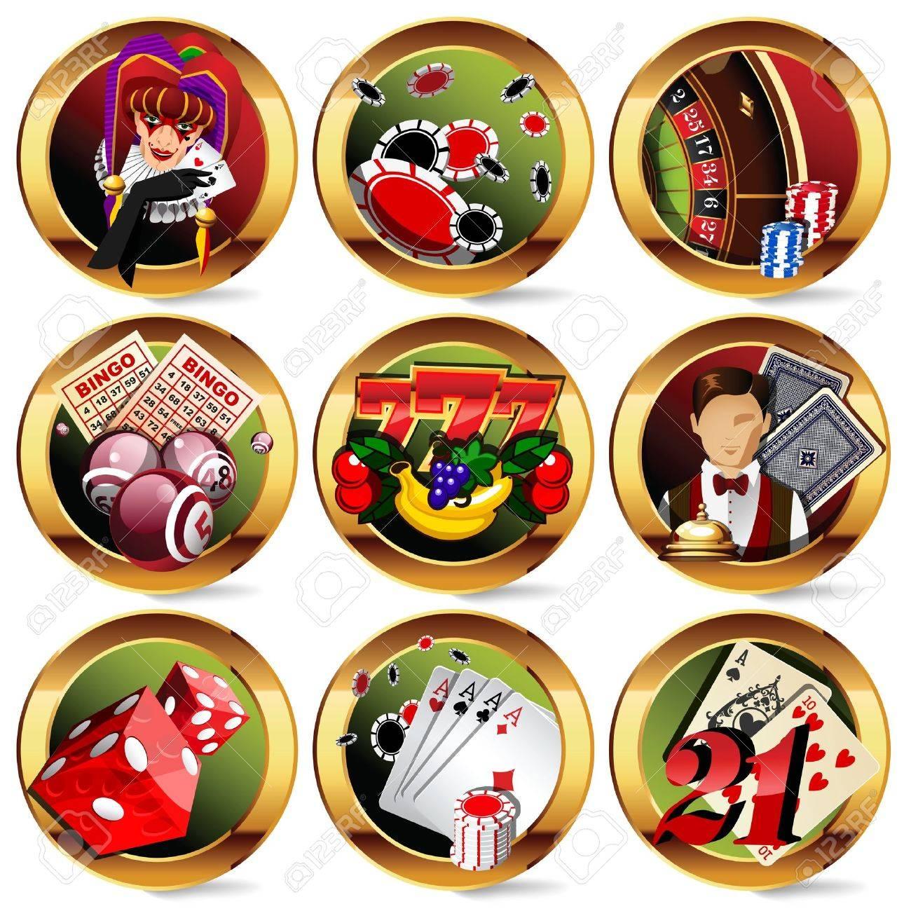 casino or gambling icons set. Stock Vector - 13626009